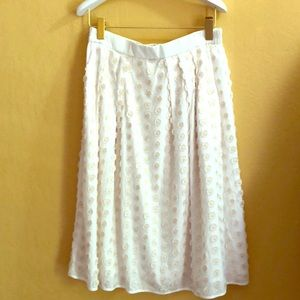 J.Crew Midi Skirt, Fringe dots in Ivory, Size 8